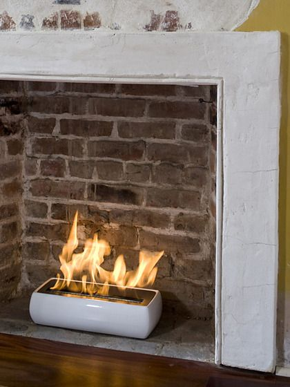 Avani white portable fireplace by brasa perfect for a - Decorate non working fireplace ...