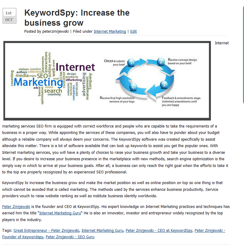 KeywordSpy to increase the business grow and make the market position as well as online position on top so one thing is that which cannot be avoided that is called marketing. For more information visit: http://www.how-i-made-my-first-million.com/keywordspy-increase-the-business-grow/