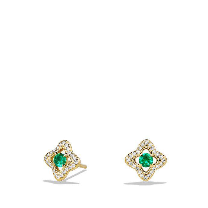 Venetian Quatrefoil Earrings with Emeralds and Diamonds in 18K Gold