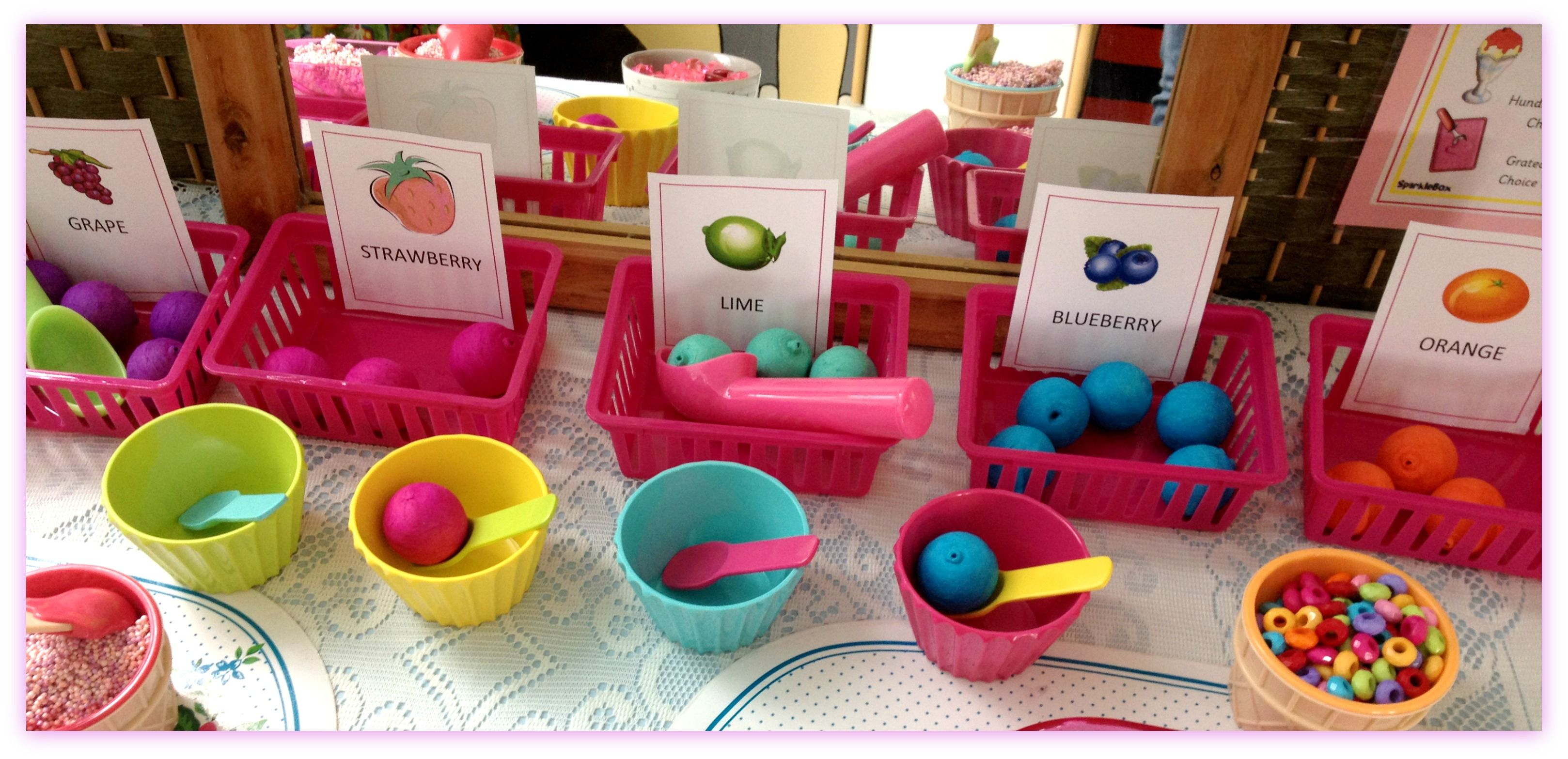 Ice Cream Shop Dramatic Play Area Paper Balls For Ice Cream