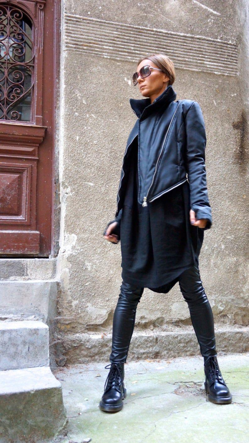 NEW Winter Warm Asymmetric Extravagant Black Coat