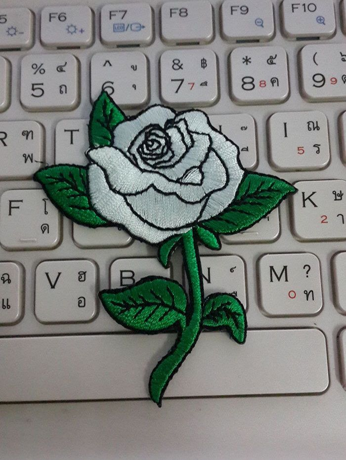 Rose Iron on Patch - White Rose Applique Embroidered Iron on Patch by glassbottleshop on Etsy https://www.etsy.com/listing/260259663/rose-iron-on-patch-white-rose-applique