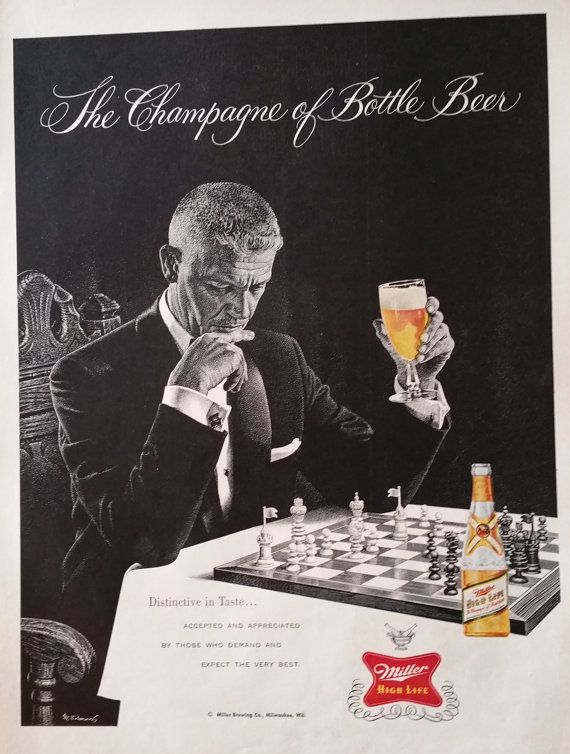 1958 Miller Beer Chess Magazine Advertisment - Miller Beer