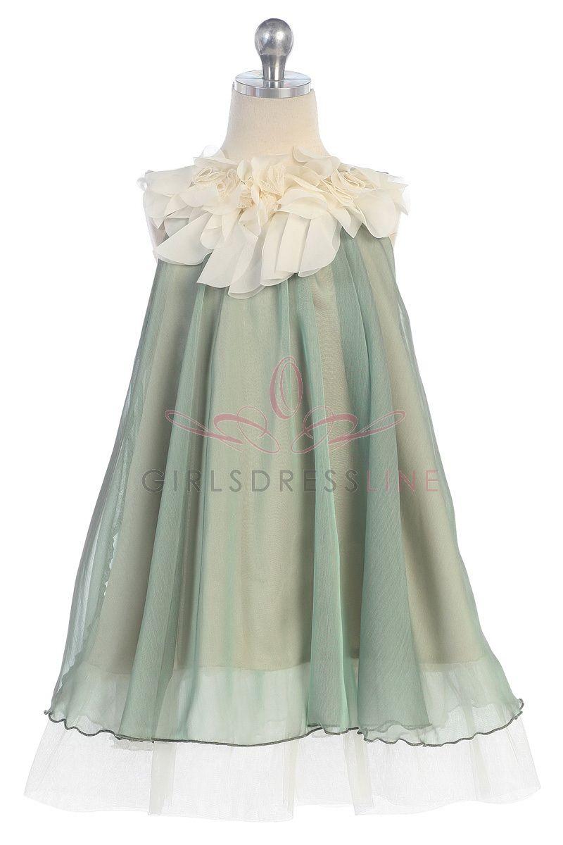 Sage chiffon short flower girl dress ksg on