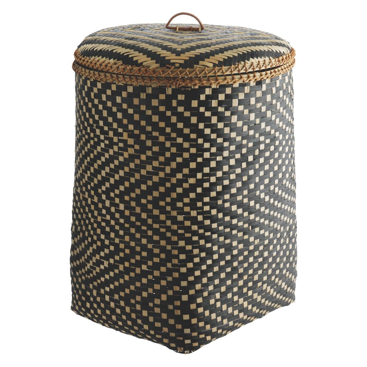 Wonderful Laundry Bags And Baskets Part - 12: IDAHO Bamboo Patterned Laundry Basket With Lid