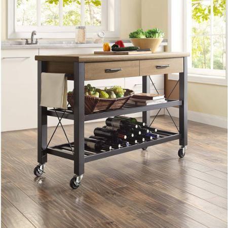 Whalen Santa Fe Kitchen Cart with Metal Shelves Walmart