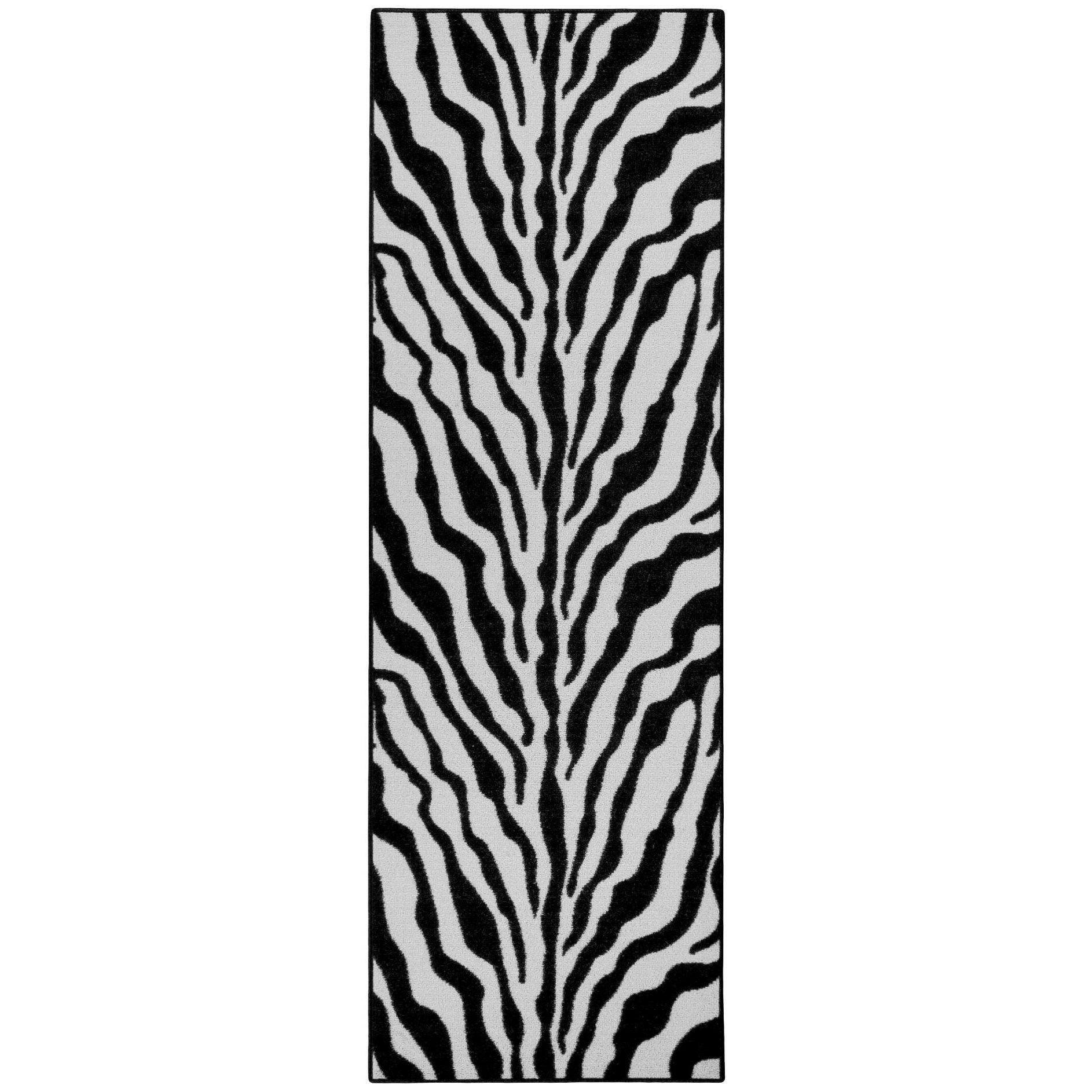 Rubber Back Black And Snow White Zebra Print Non-Slip Long