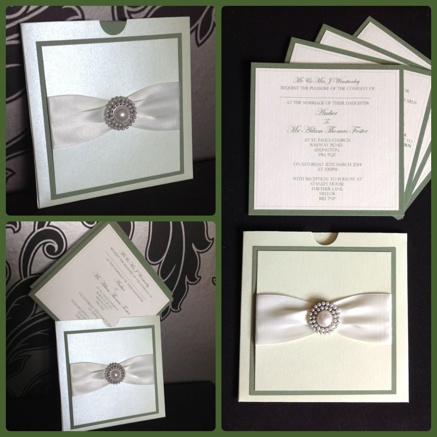 Subtle Green & Ivory Wedding Wallet Invitation