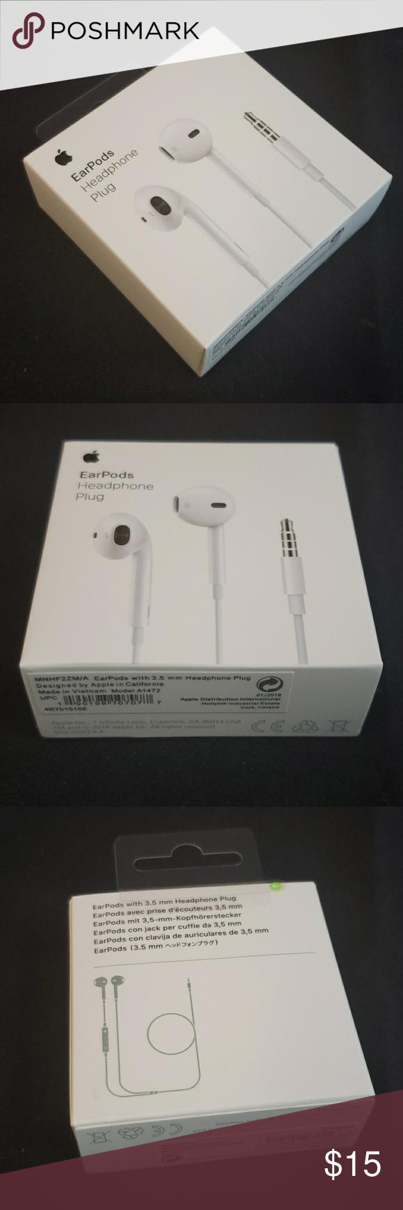 Genuine Apple Md827ll A Earpods Earphones For Iphone X 8 7 6 5 4s W Remote Mic Iphone Earphone Apple