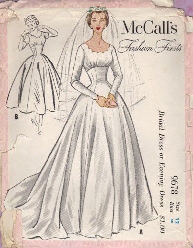 McCall's 9678 ~ a vintage wedding dress pattern from 1954 ~ Empire ...