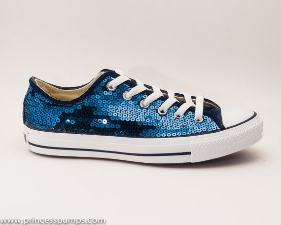36cf291b075 Navy Blue Sequin Converse All Star Low Top by princesspumps