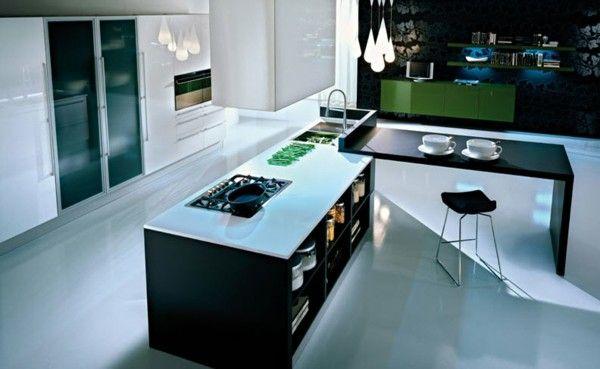 isla de cocina moderna negra y blanca