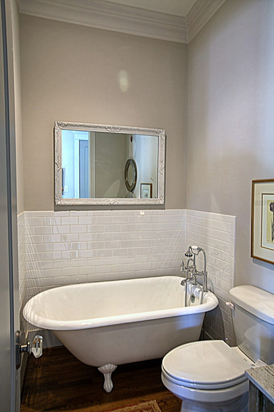 My clawfoot tub cedar hill farmhouse love this for the - Small bathroom with tub and shower ...