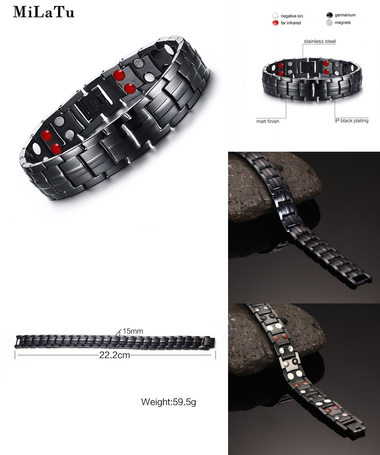 Visit to buy milatu black menus health energy bracelet bangle