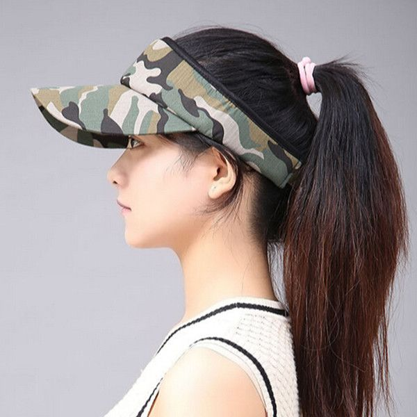 5d10a92a885 UV camo sun visor hat for women green camouflage sun hats adjustable ...