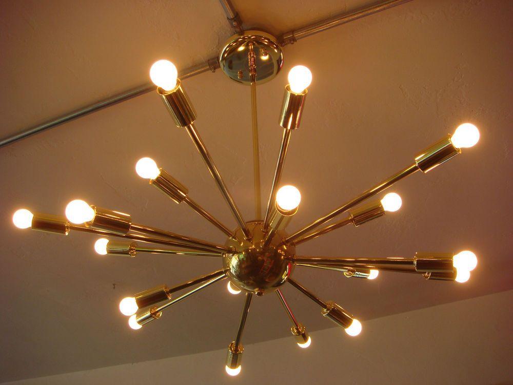 Polished brass atomic sputnik starburst light fixture chandelier polished brass atomic sputnik starburst light fixture chandelier ceiling lamp 595 free shipping mozeypictures Image collections