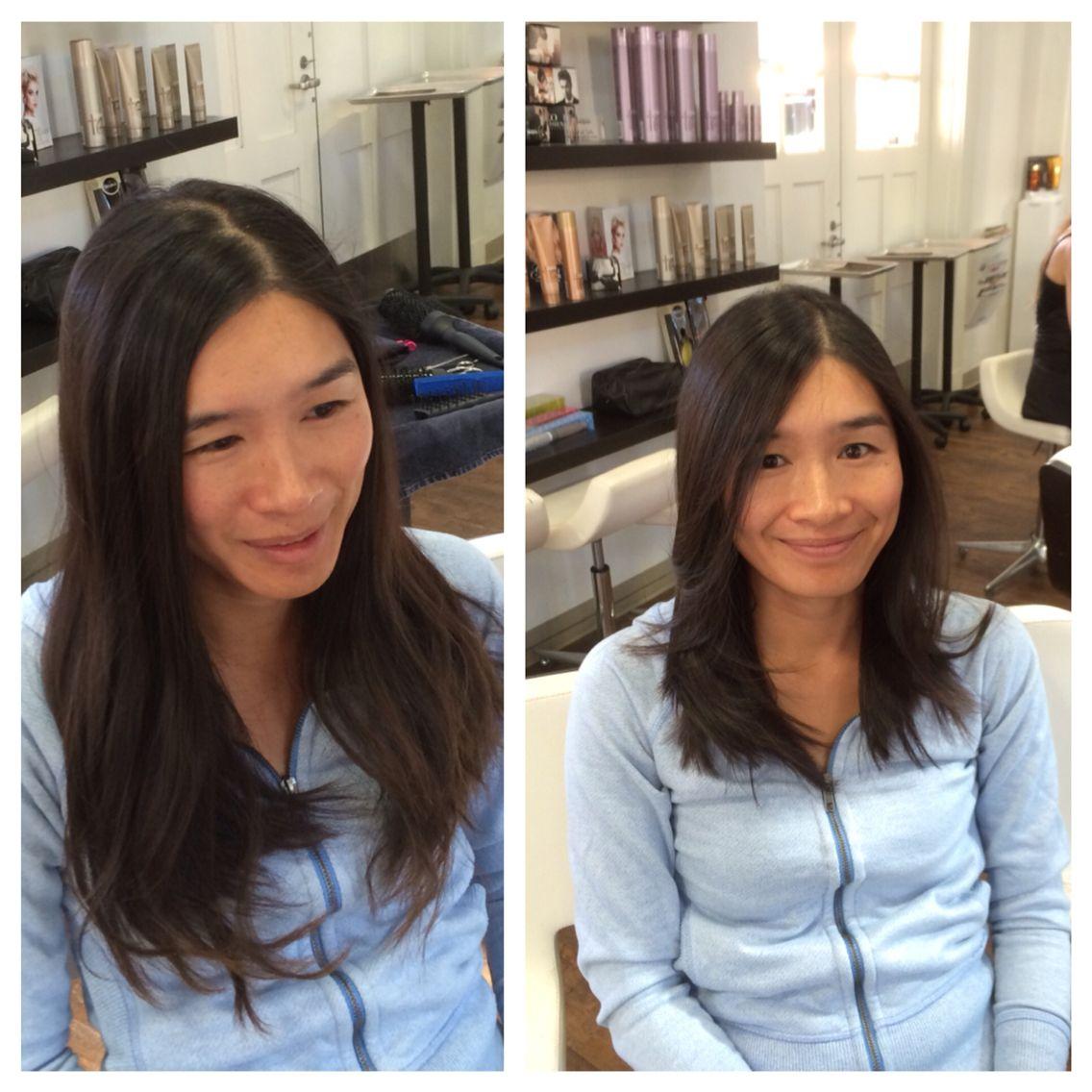 Before and After long layers jolsalon Best hair salon