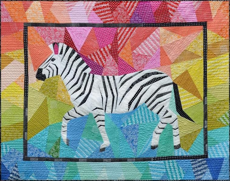 Zebra Quilt With Colorful Fabric Background Zebra Quilt Patterns African Quilts Quilt Patterns