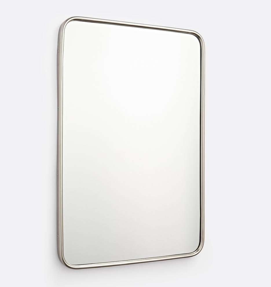 20 X 30 Aged Brass Rounded Rectangle Metal Framed Mirror Rejuvenation Metal Frame Mirror Mirror Frames Metal Frame