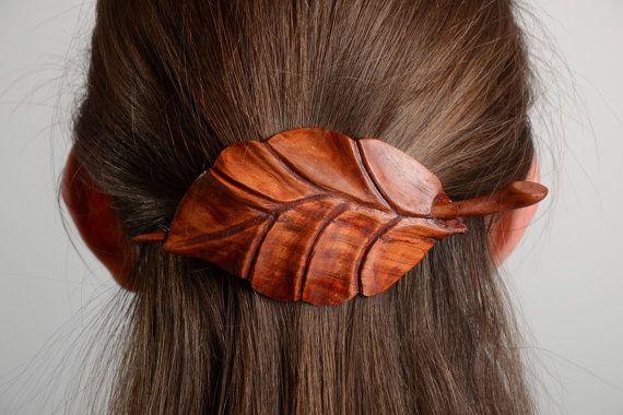 Barrette pour cheveux en bois faite main par