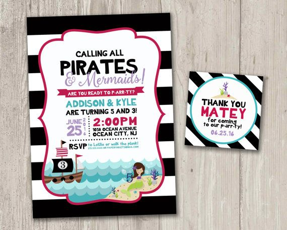 pirate and mermaids birthday invitation ahoy matey pirate ship and