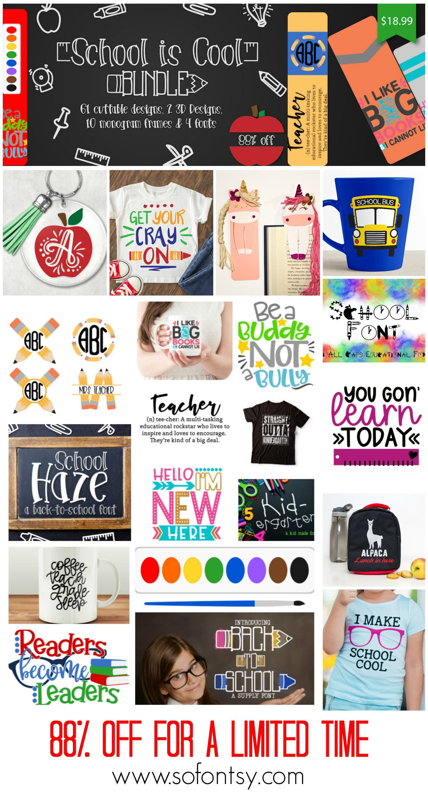 expired: school is cool bundle | commercial use fonts and designs