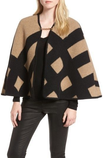 Burberry Women's Blanket Check Wool & Cashmere Poncho