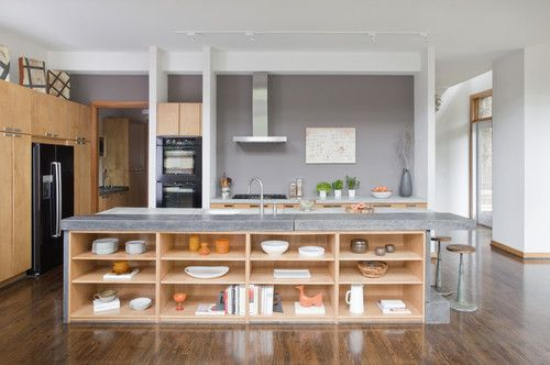 """modern airy kitchen  I like the open storage but the non-cleaner in me says """"bad idea"""""""