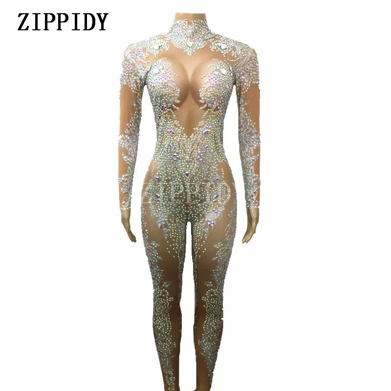603237cfb384 AB Rhinestones Sparkly Jumpsuit Fashion Sexy Nude Big Stretch Dance Costume  One-piece Bodysuit Birthday Outfit Party Leggings
