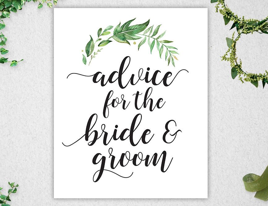Advice for the Bride & Groom Sign // INSTANT DOWNLOAD // 8x10 // Greenery // Bridal Shower // Printable // #PBP86 #weddingwelcomesign