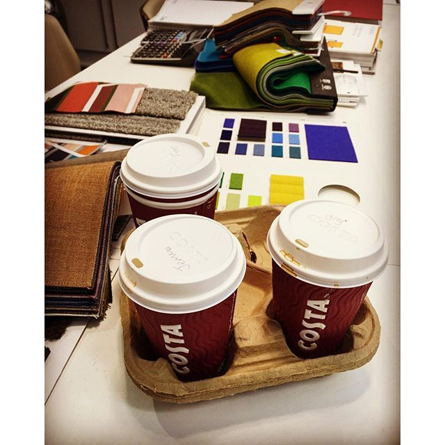 Coffee machine's temporarily out of order, so a quick @costacoffee run to fuel the team! #costa #interiordesign #fabrics #interface #huntsoffice