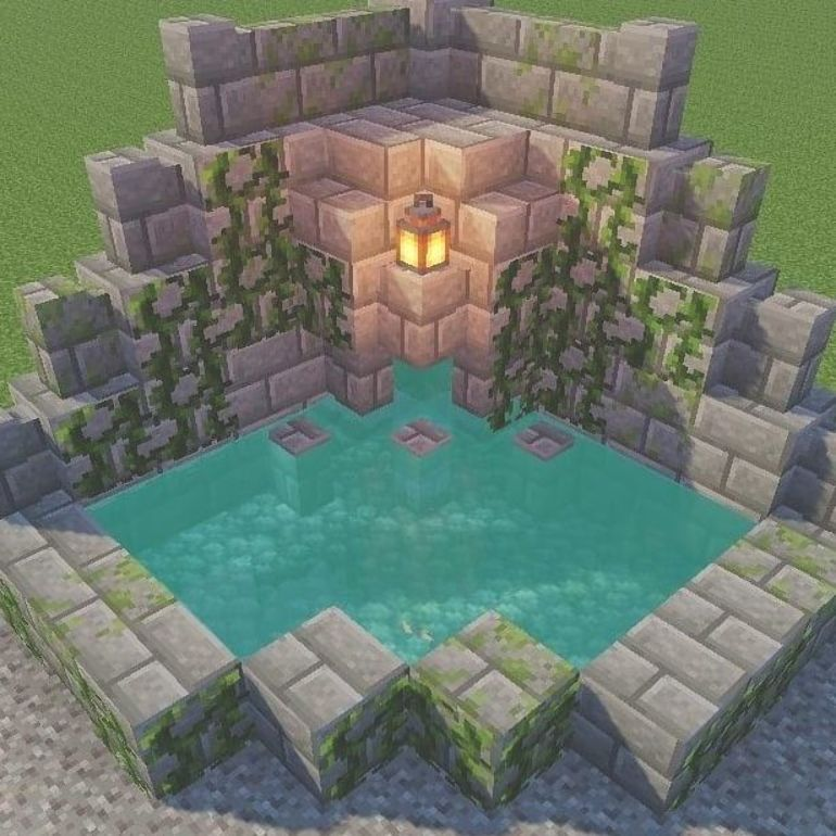 Pin By Emo Baby On For My Brothers In 2021 Minecraft Fountain Minecraft Interior Design Easy Minecraft Houses