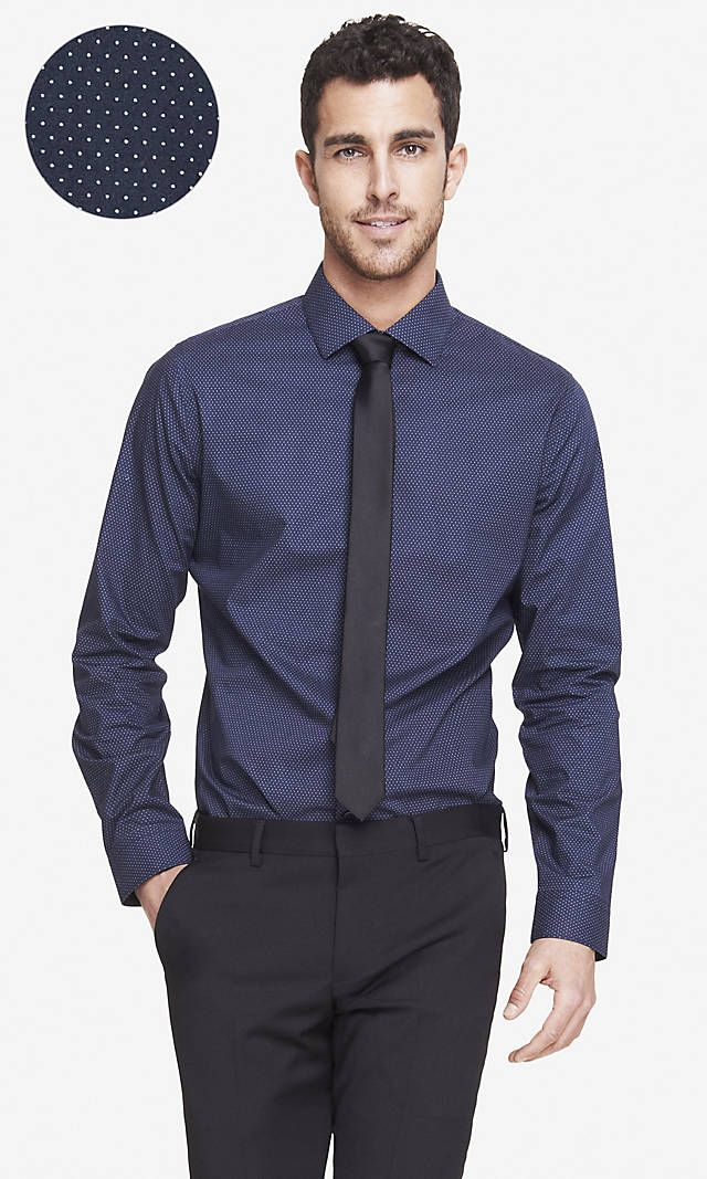 Fitted non iron micro dot shirt express stuff to buy for Express shirt and tie