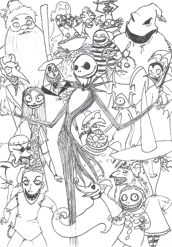 The Nightmare Before Christmas Coloring Page Halloween Coloring Pages Christmas Coloring Pages Halloween Coloring
