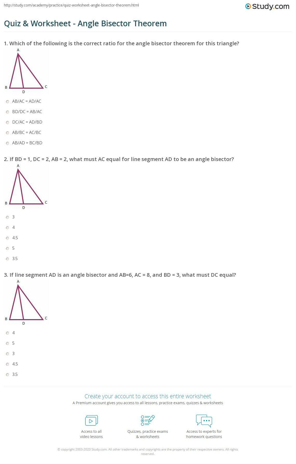 Angle Bisector Theorem Worksheet Quiz Amp Worksheet Angle