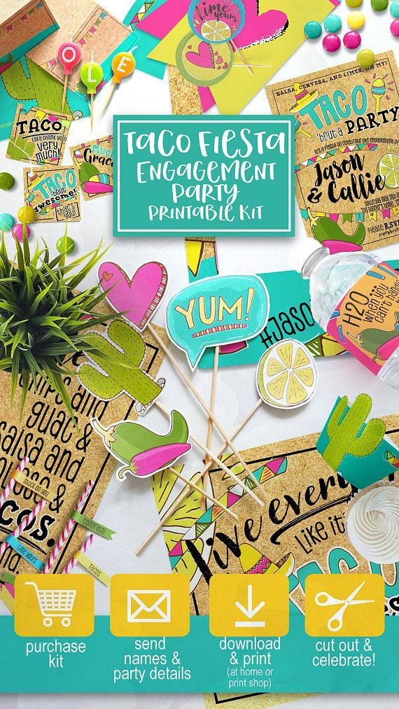 Fiesta taco party engagement themed printable kit including decorations custom invite and photo prop ▻ get everything shown in the photos on sa