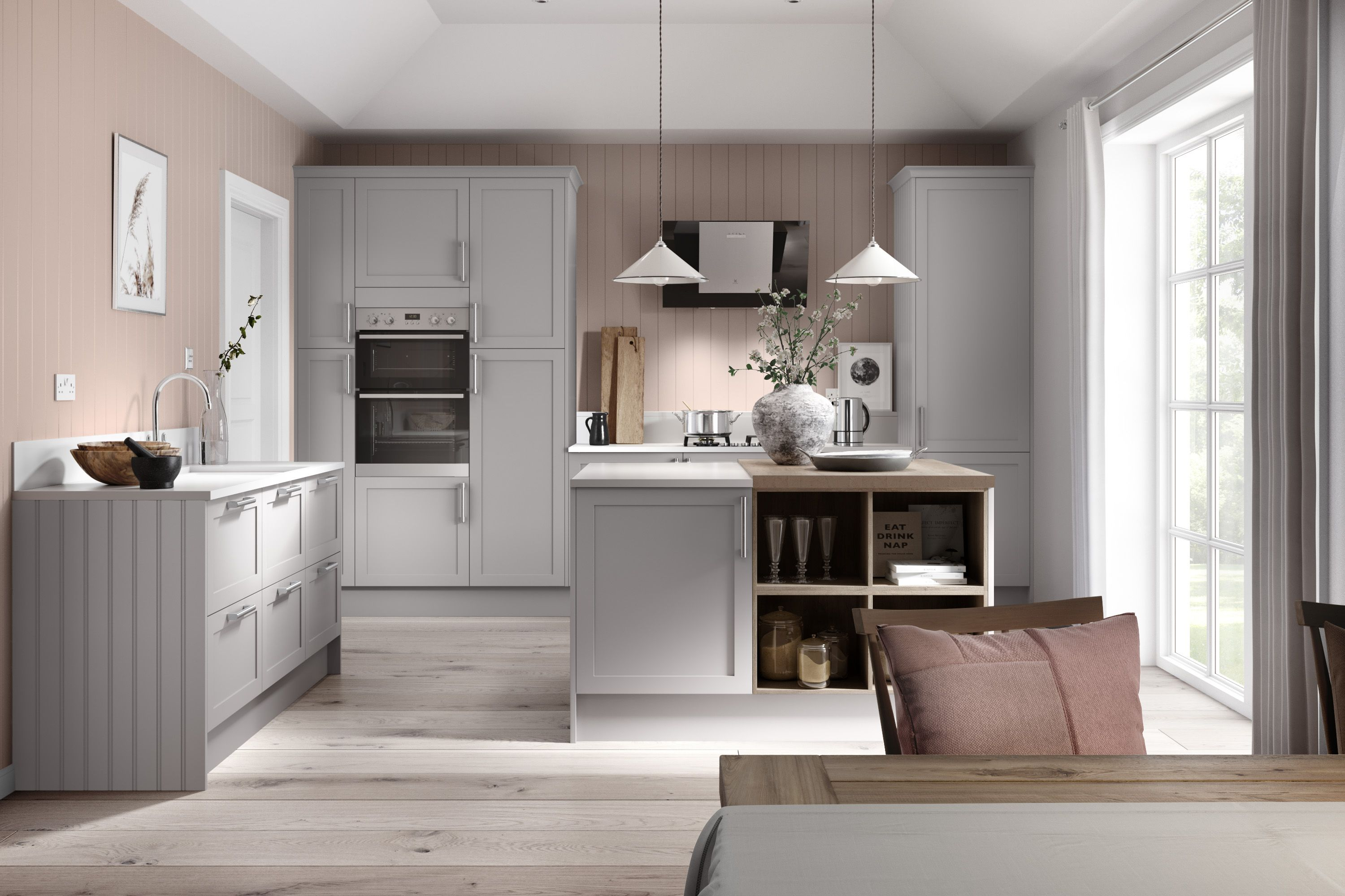 Create a soothing look by pairing light dove grey