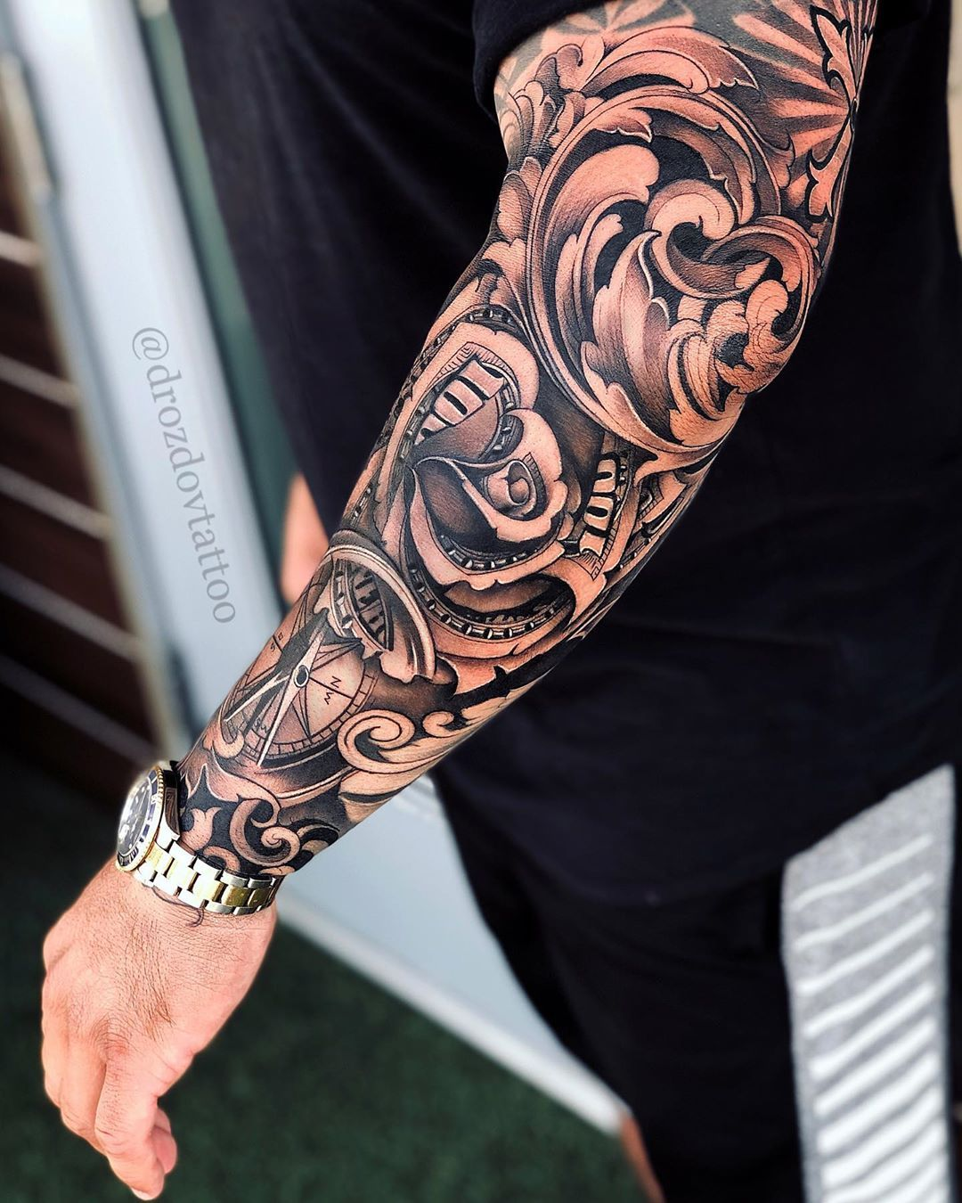 Image May Contain One Or More People And Closeup Tattoo Sleeve Designs Rose Tattoo Sleeve Forearm Tattoo Men