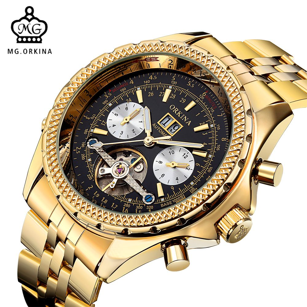 d212651d1dda7 ORKINA Golden Mens Automatic Mechanical Wrist Watch Metal Gold Dial  Stainless Steel Glass Day Date Month Relojes Male Tourbi. ORKINA Men  Watches Top ...