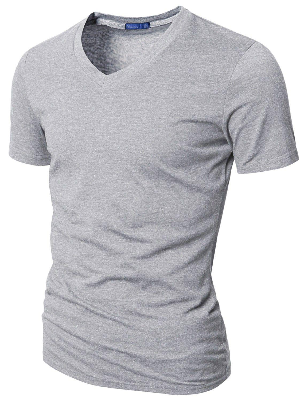 Mens Casual Short Sleeve Single Color V neck T-Shirt #doublju