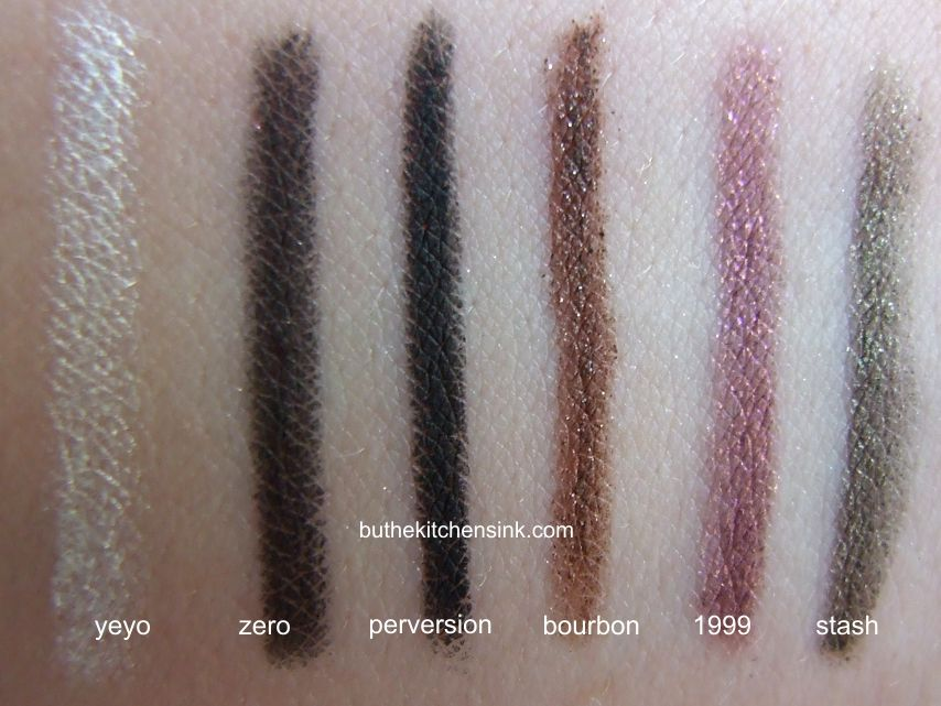 Urban Decay 24/7 eye pencil swatches