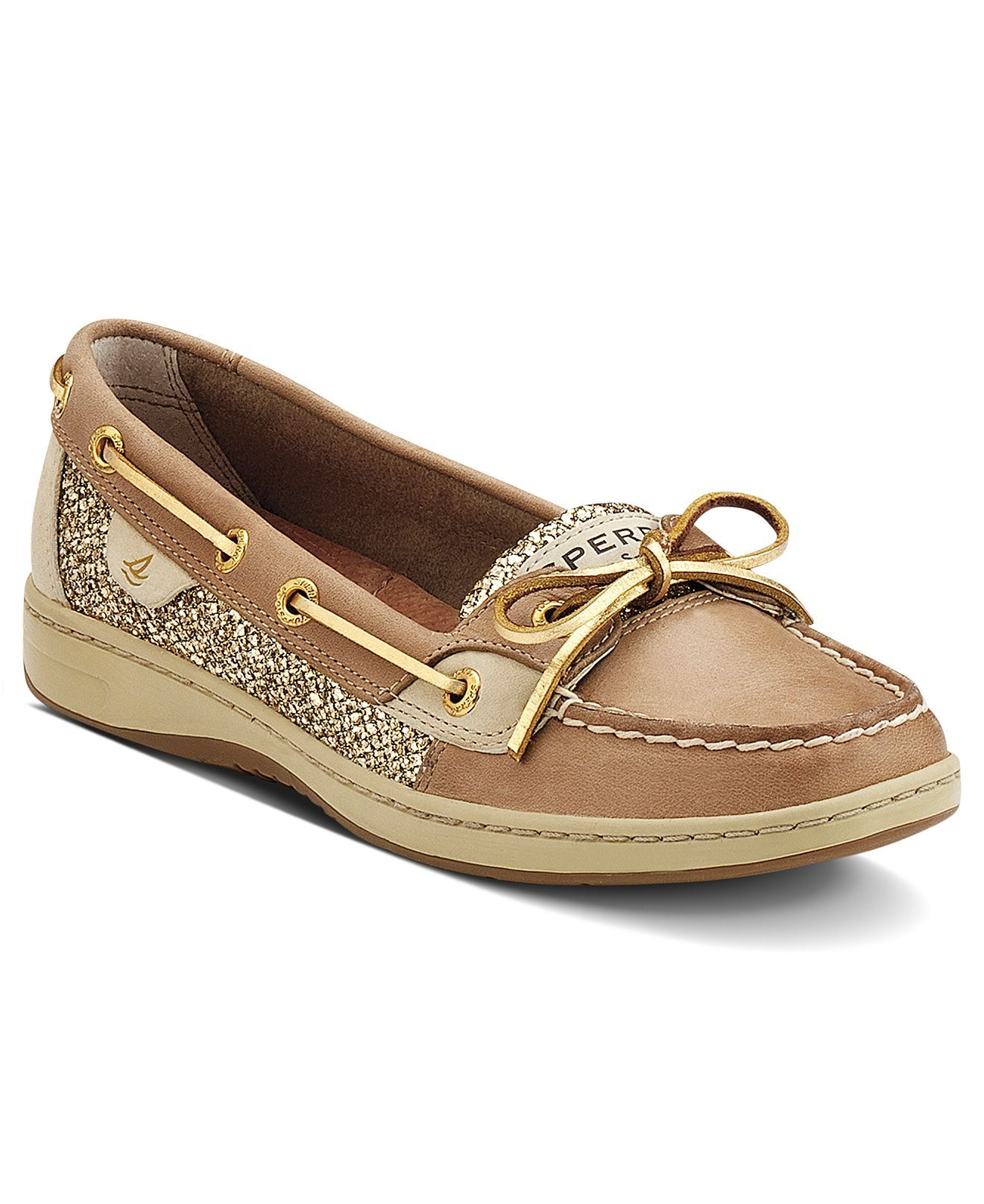 Sperry Top Sider Linen And Gold Glitter Angelfish Boat Shoes