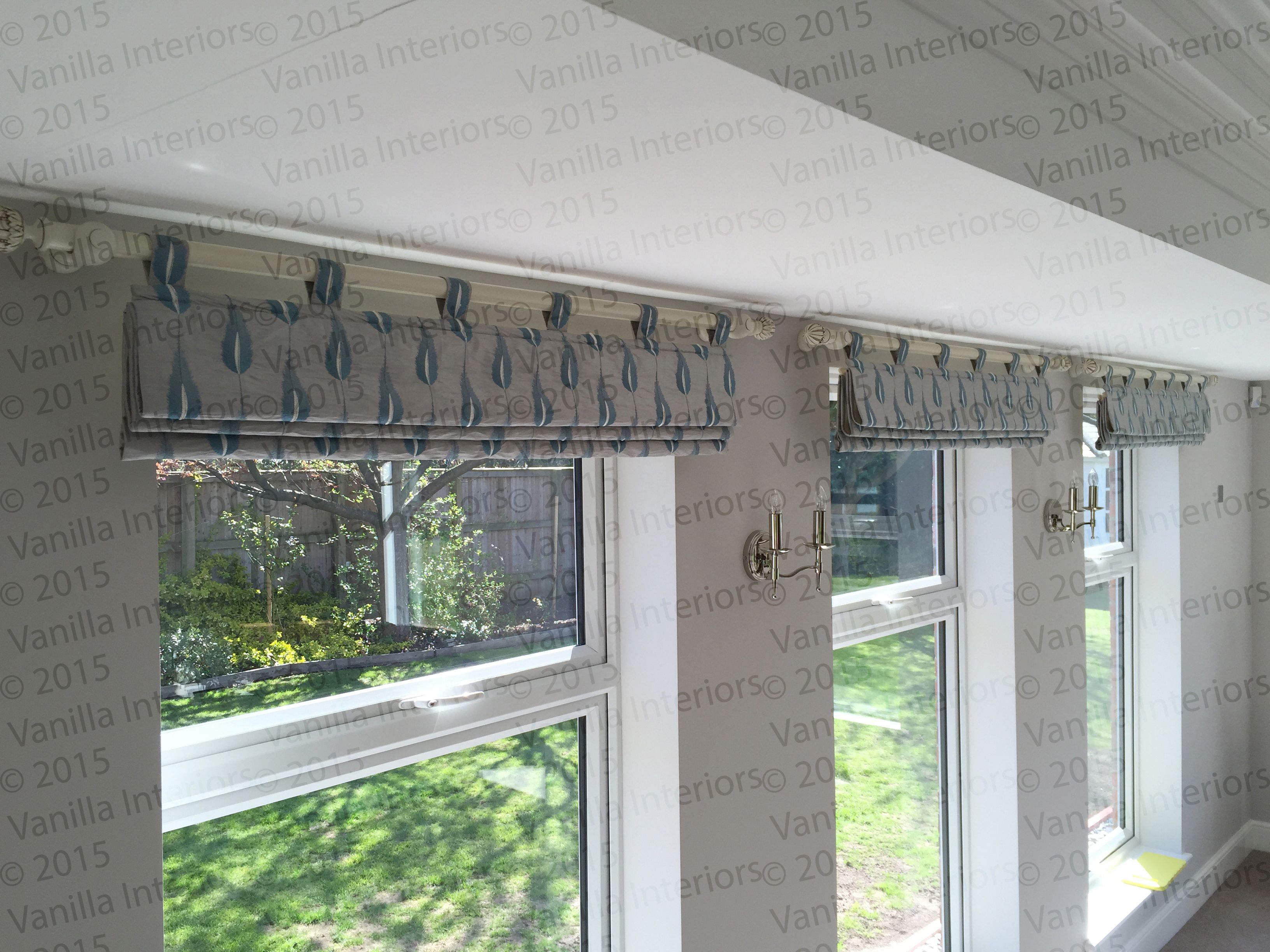 Roman Blind Style Tab Top Valance In Jane Churchill Plato