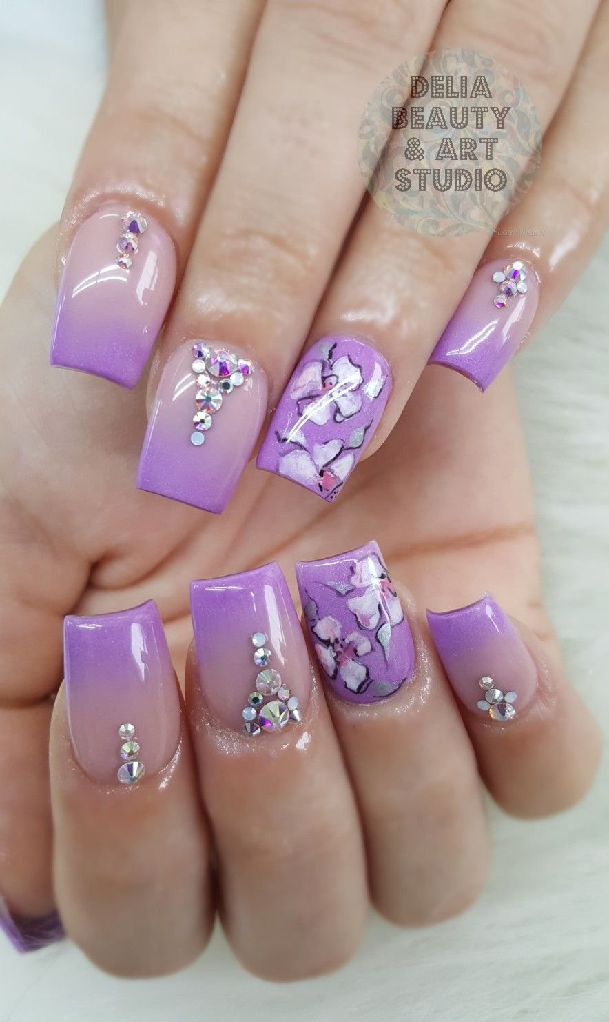 Acrylics Ombre Nails Purple Nails Free Handed Flower Nail Art All Powder Purple Nails Flower Nail Art Nail Art
