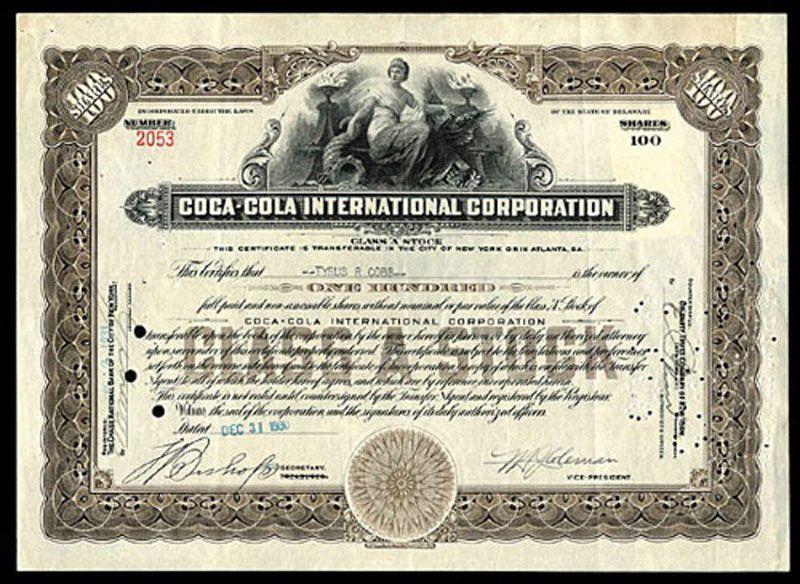 COCA-COLA 100 Shares Class A 1935 Scripophily \/ Dow Jones Index - company share certificates