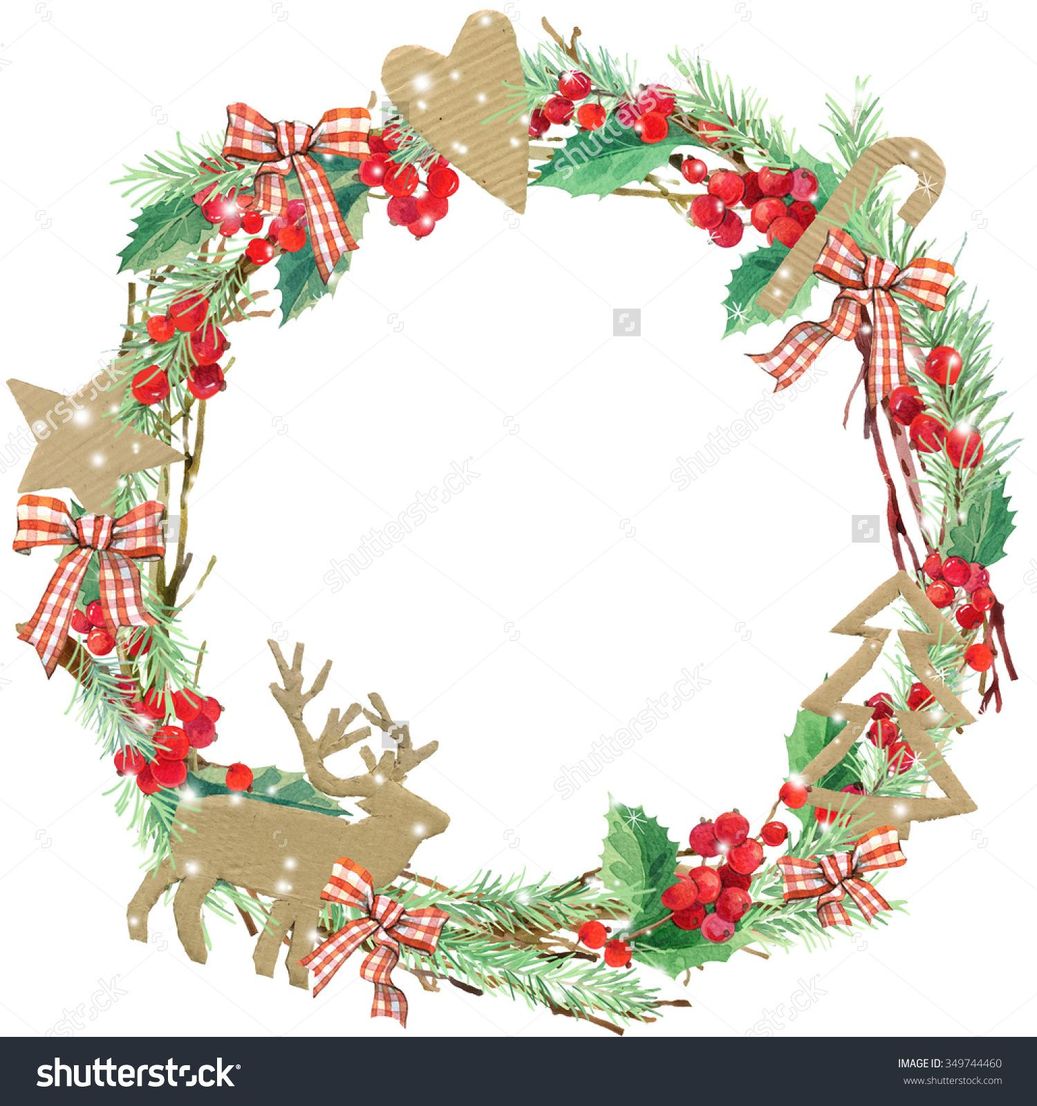 Stock Photo Watercolor Christmas Wreath Frame Watercolor Winter
