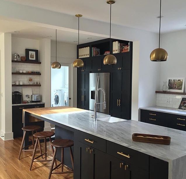 Kitchen With White Cabinets Black Countertops: Love This Kitchen! Lights From Schoolyard. Cabinets In