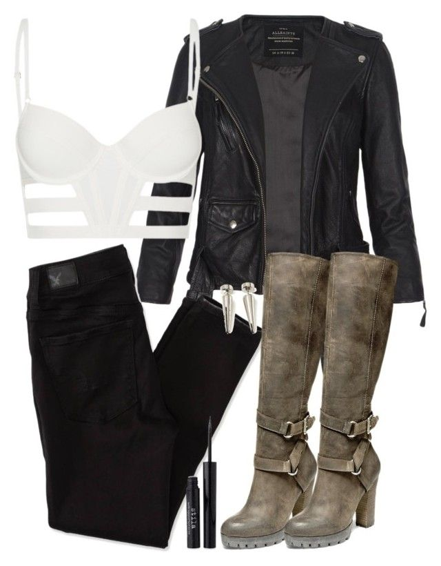 """""""Braeden Inspired Sexy Party Outfit with Black Jeans"""" by veterization ❤ liked on Polyvore featuring moda, AllSaints, sass & bide, American Eagle Outfitters, Steve Madden, 21 Men ve Stila"""