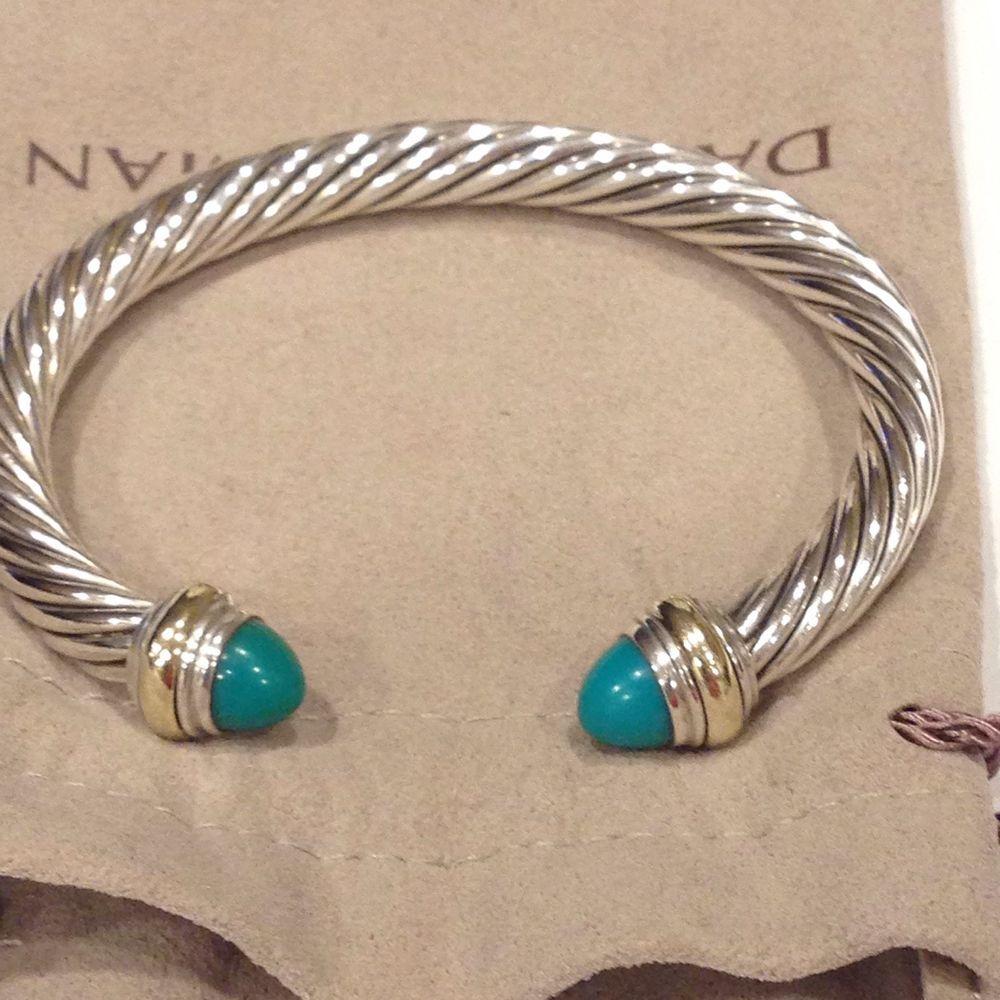 David Yurman 7mm Sterling Silver 14k Clic Cable Turquoise Bracelet Davidyurman Cuff