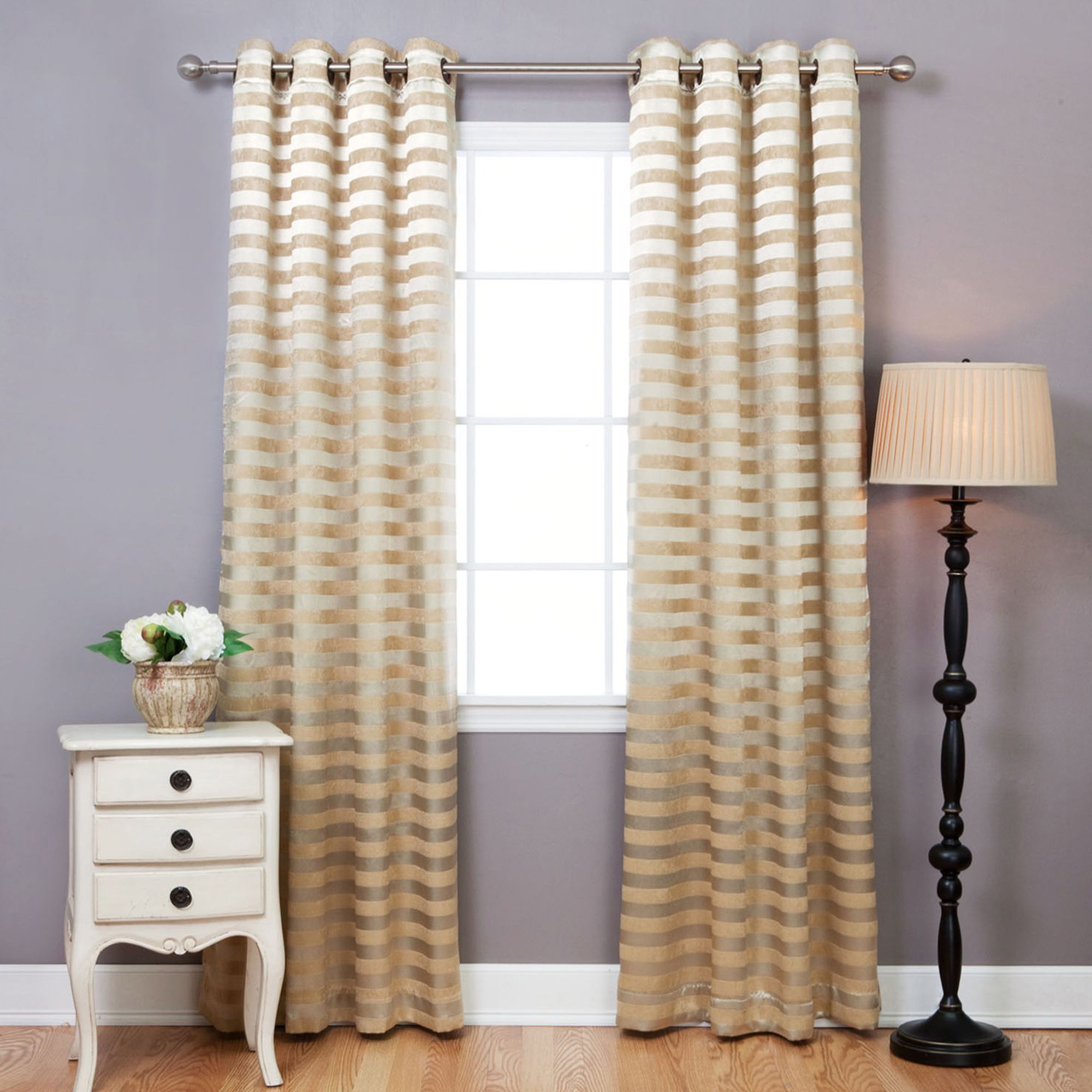 Cheap window coverings  aurora home satin and suede stripe grommet inch curtain panel